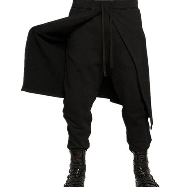 2018 Brand Cool Mens Gothic Punk Style Harem Pants Black Hip Hop Wear Skinny Dress Skirt Pants Trousers Faux 2pieces