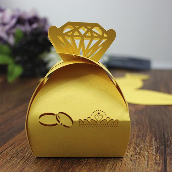 Fedi nuziali per il taglio al laser giallo Scatole per bomboniere brillanti per bomboniere regalo per caramelle al cioccolato