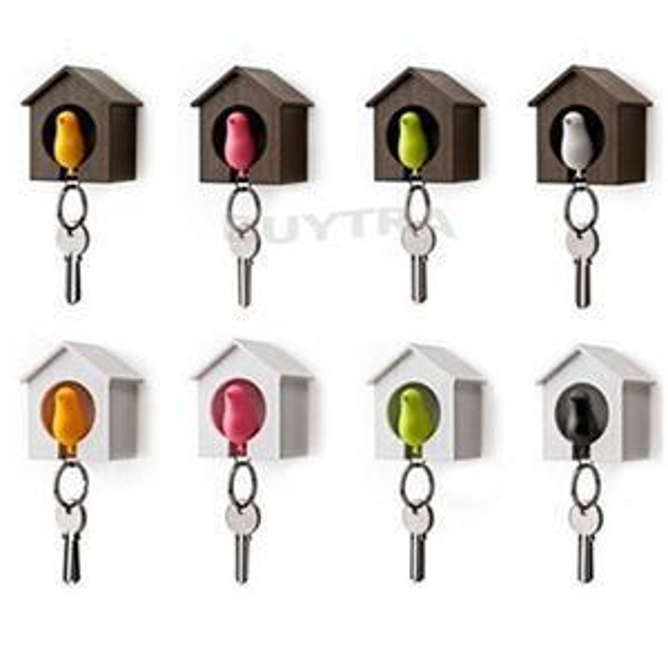 YITING 1Pc Lover Sparrow Birdhouse Keychain Home Wall Hook Bird Nest Holder Key Ring Gift