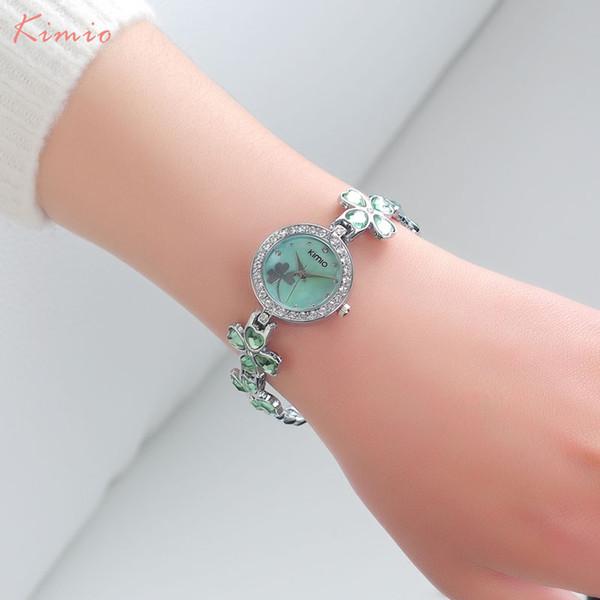 KIMIO mujeres relojes de cuarzo pulsera analógica de lujo reloj de vestir marca de moda señoras azul rosa relojes de pulsera 2018 reloj de la muchacha caliente