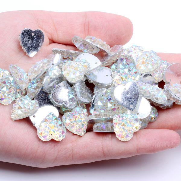 14mm 100pcs Heart Shape AB Colors Flatback Resin Rhinestones Gems With 2 Holes Sew On DIY Scrapbooking Craft Jewelry Decoration