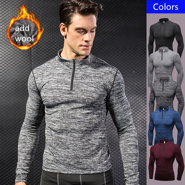 Fashion Casual Fleece Stand Collar Zipper Mens Brushed Hoodie Sports Sweatershirts Running Training Fitness Long Sleeves Top Thermal Sweater