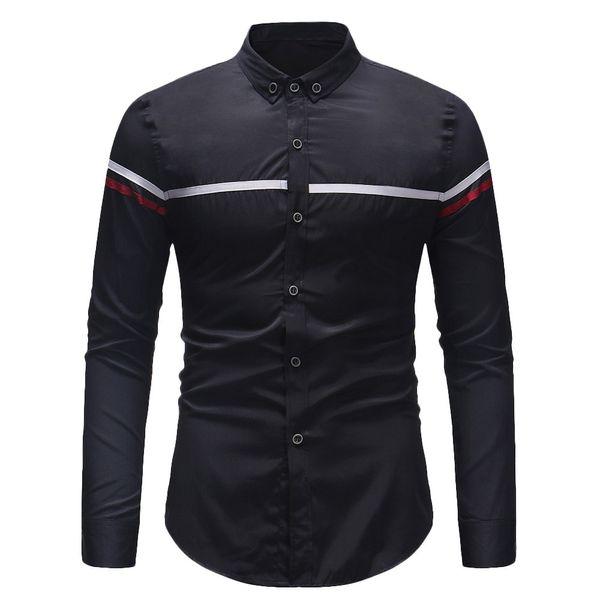 Camicia maschile da uomo invernale da uomo a maniche lunghe a righe Camicia maschile Camisa Masculina casual Slim Chemise Homme W84JK