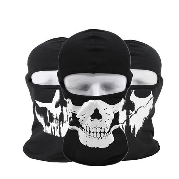 Halloween Gost Skull Mask Motorcycle Hood Full Face Mask Face Mask Windproof Dustproof Neck Scarf Headwear Sport Helmet Snood