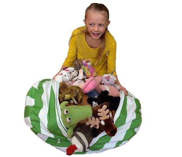 Stuffed Animal Storage Bean Bag Chair 61cm Portable Kids Toy Organizer Play Mat Clothes Home Organizers