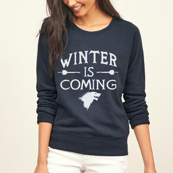 fashion Game of Thrones sweatshirt winter is coming print Women 2018 o-neck collar casual hoodies full sleeve tracksuit pullover S18101008