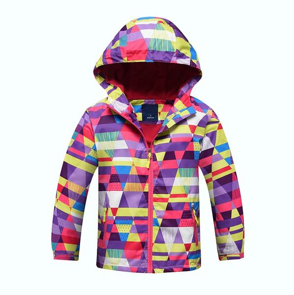 2018 children's wear children's outdoor jacket girls' cashmere hat windbreaker warm hiking assault jacket