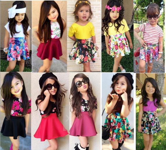 Cute Girls Two-Piece Set 2016 Summer New Baby Girl Yellow T-shirt Tops+Floral Tutu Skirts Fashion Kids Suits Children Casual Outfits Retail