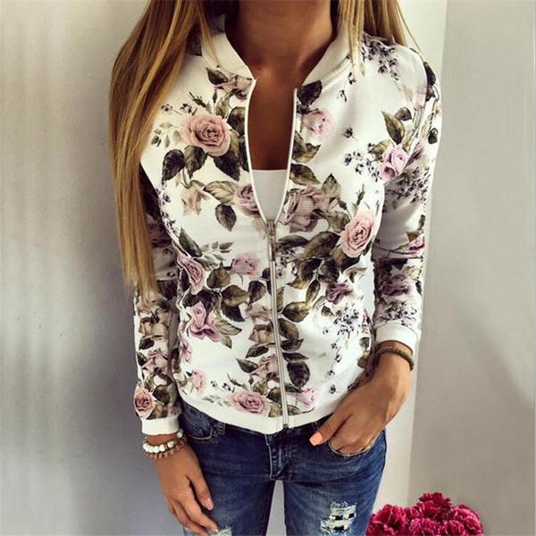 Fashion Women Stylish Long Sleeve Short Bomber Classic Style Zip Up Biker Vintage Jacket Floral Print Jacket Coat Autumn Winter