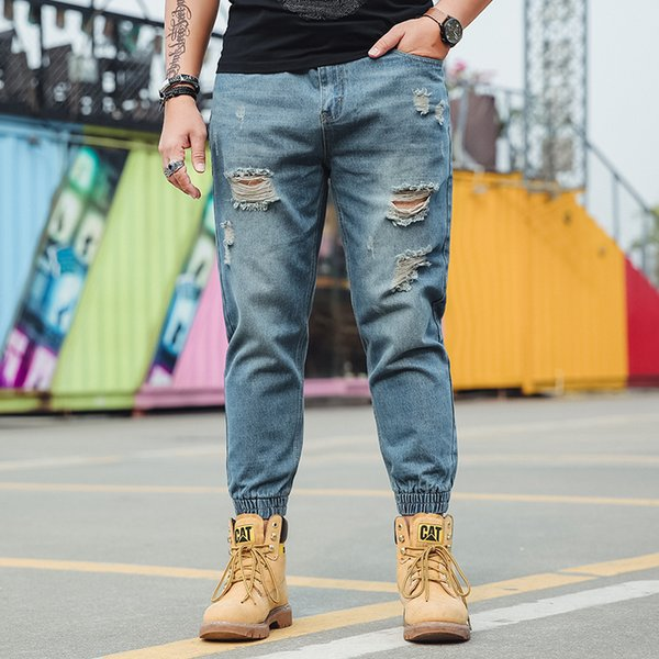 Hot 2018 Spring/Autumn Men New Fashion Leisure Hole Loose Fertilizer Increasing Beam Foot Harem Jeans Large Size 3XL 4XL 5XL 6XL