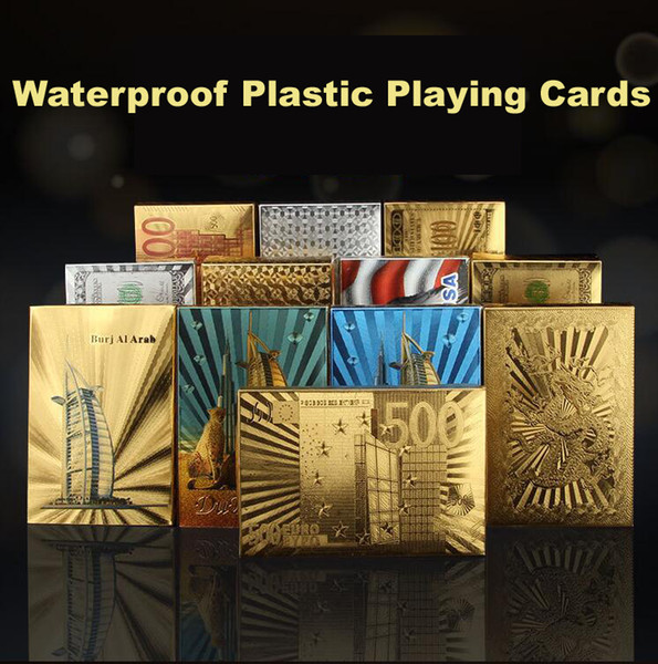NEW Statue of Liberty Style Waterproof Plastic Playing Cards Gold Foil Poker Golden Poker Cards Dubai 24K Plated Poker Table Games