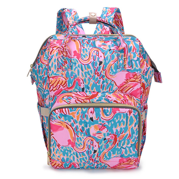 New Floral Mummy Backpacks Flamingo Printing Baby Diaper Backpacks Mommy Feeding Bags Nappy Mother Maternity Backpacks Diaper Bags
