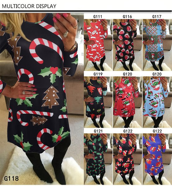 best selling Fashion Women Dress Long Sleeve Santa Claus Dresses Gift Christmas Xmas Flared Dress for Women girls swing Casual Mini Dress