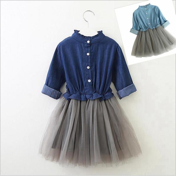 Vestido de las muchachas del bebé del niño del volante de manga larga vestidos de los niños de malla de mezclilla del remiendo del vestido niñas otoño falda ropa de diseñador niños YL457