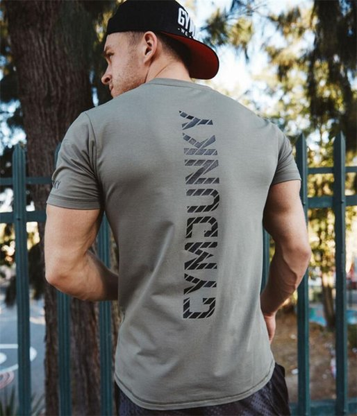 New Men Cotton Short Sleeve T-shirt Gyms Fitness Bodybuilding Crossfit Clothing Man Workout T Shirt Casual Brand Tee Tops