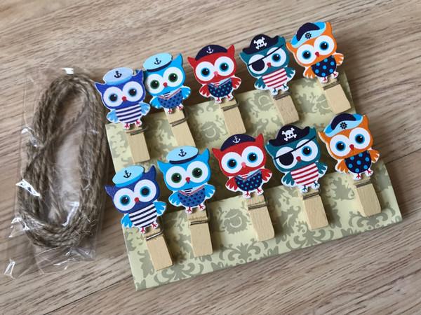 30 stücke EULE Papier Holzpflöcke mit Schnur, Holzclips, Pin Wäscheklammer Clips, Pin für Kinder Geburtstagsfeier Souvenirs Geschenk Gefälligkeiten
