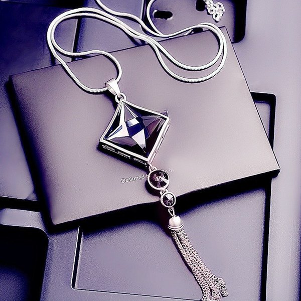 Trendy Diamond Tassel Necklace With Square Gemstone Pendant And Silver Long Sweater Chain For Party Dress Jewelry Accessories