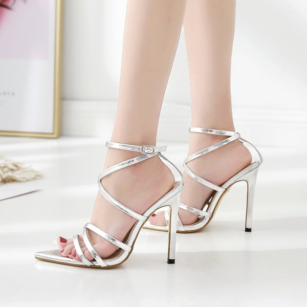 Fashion women ankle strappy high heel gladiator sandals silver black wedding shoes women luxury shoes size 35 to 40