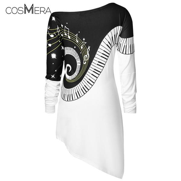 CosMera Music Notes Asymmetrical T-Shirt Womens Clothing Skew Neck Long Sleeve T Shirt Female Ladies Tops Fall Tshirts Plus Size