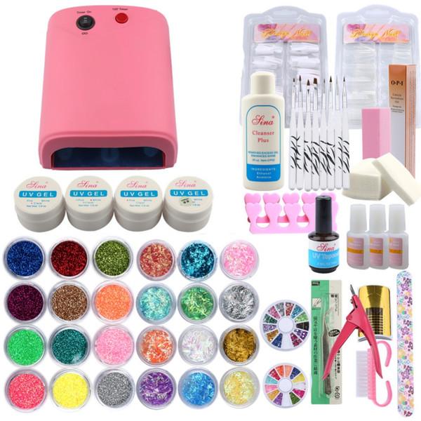 Nail Polish Manicure Set Kit Gel Nail Polish 36W UV Lamp for Dryer Base &Top Coat Gel Manicure Tools Se