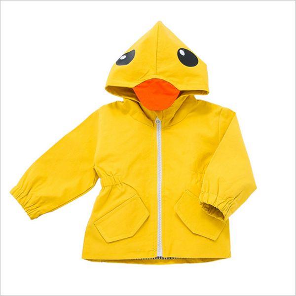 New Arrival 2017 Kids Jackets Raincoat Girls Boys Cute Animal Duck Children Hooded Windbreaker Kids Trench Coat Baby Outerwear