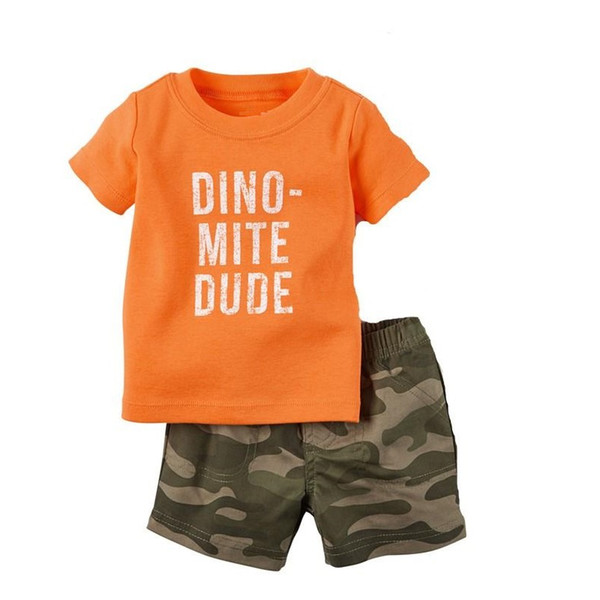 Dino Baby Clothes Set Children Outfits 100% Cotton Boy 2-pieces Clothing Suit Camouflage Pants Tee Toddler Outfits Top Bodysuits