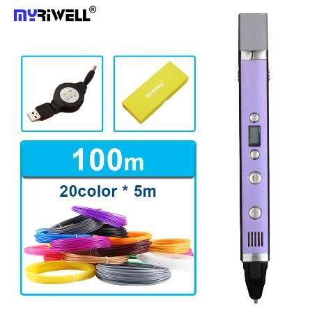 Livraison gratuite myriwell génération troisième 3D PEN avec écran d'affichage de la température du câble usb 20 pcs ABS filament bricolage dessin jouet
