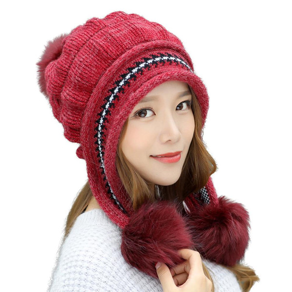 new Outdoor Winter Women Pompom Ear Flaps Fleece Lining Warm Beanie Cap Knitted Hat