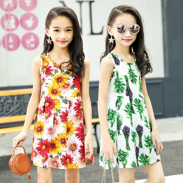 Kids dress Summer fashion child cotton silk fabric soft material dress Floral with TuTu element cool dress for small girls