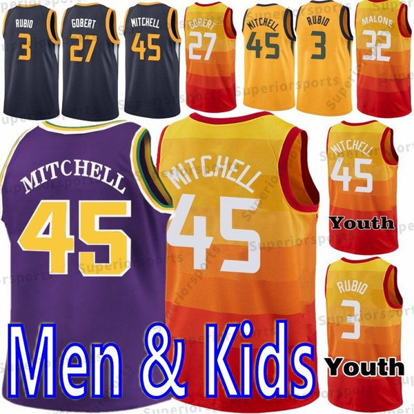3 Ricky Rubio 45 Donovan Mitchell 27 Rudy Gobert 2 Joe Ingles 24 Grayson  Allen Men Youth Kids Basketball Jerseys High quality 2019 New 17532b86a