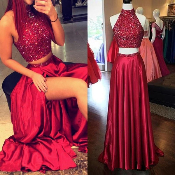 New Two Pieces Prom Dresses High Neck Crystal Beading Satin Burgundy Side Split Hollow Back Long Formal Party Dress Evening Gowns