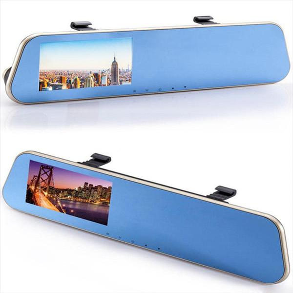 "2Ch car DVR mirror auto registrator cam driving recorder mirror 4.3"" 140 degrees full HD 1080P G-sensor parking monitor rearview backup grid"