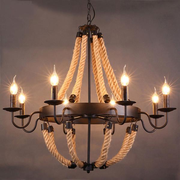 Retro Designer Rope Pendant Light RH LOFT Lamp Industrial Iron Nordic Dining Room Bedside Bar Vintage Luminaire Pendant Lamps