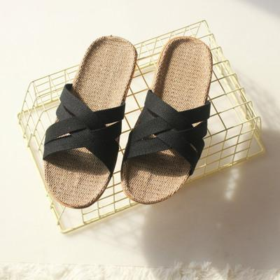 New Summer Style Love Couple Flip-Flops Minimalist Cross Brand Slippers Flat Casual Flax Sandals Toed Non-slip Soft Bottom Japanese Shoes