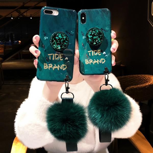 Luxury fashion emerald shiny diamond extension bracket+fox fur ball cover case for iphone 6 7 8 plus X XR XS MAX phone cases