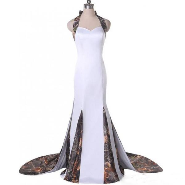 Halter Neck Camouflage Wedding Dresses Mermaid Bodice Zipper Back Hand-made Flowers Detachable Train Camo Bridal Dresses Custom Made