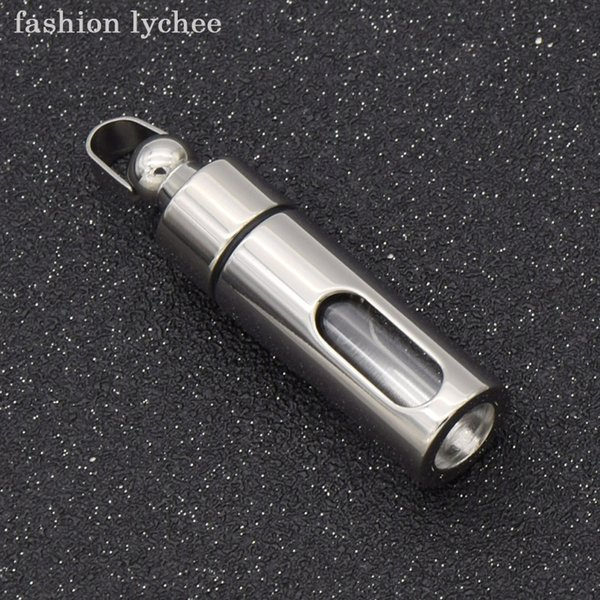 fashion lychee Unique Perfume Essential Oil Titanium Steel Storage Bottles Charms For Pendant Necklace Diy Making