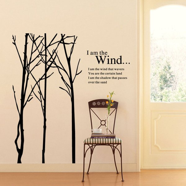 New Large Tree Branch Words Wall Stickers Removable Decal Home Decor Vinyl Art Mural Free shipping