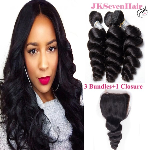 Malaysian Virgin Hair bundles 3PCS with 4x4 Inch Closure 10A Grade Loose Wave Brazilian Indian Remy Hair Extensions With Free Part Closure