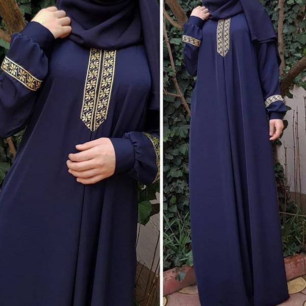 LAAMEI 2018 Herbst Frauen Plus Größe Langarm Druck Abaya Jilbab Muslimischen Maxi Kleider Casual Kaftan Langes Kleid Roben Tuniken