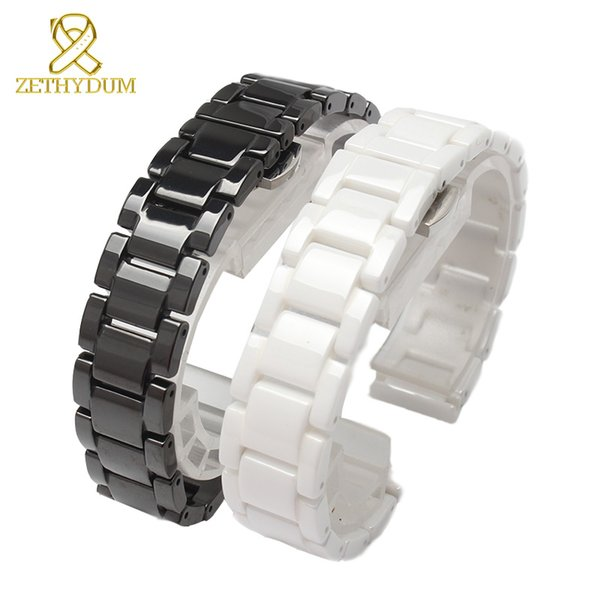 Ceramic watch bracelet 14 15 16 17 18 19 20 21mm watchband white black strap wristwatches band not fade Butterfly buckle