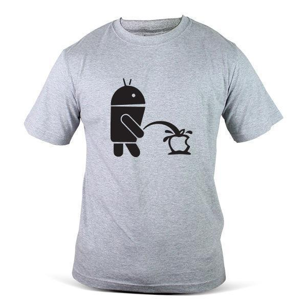 167-GY Funny Android Peeing On Apple Enzyme Grey Mens Tee TShirt T-Shirt