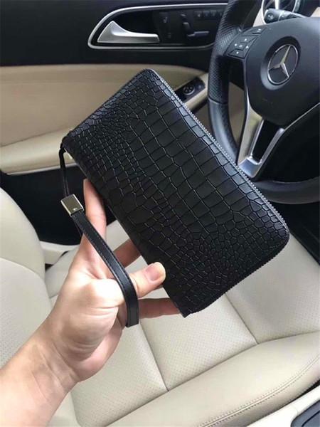 Nuovo portafoglio di moda per gli uomini di design 0946 borse di cerniera modello di coccodrillo quadrati Casual borsa di denaro unico con scatola
