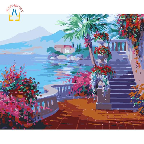 Immagini modulari per disegnare paesaggi artistici da parete per soggiorno decorazioni per la casa dipinti nordici da regalo con numeri su tela WYA063