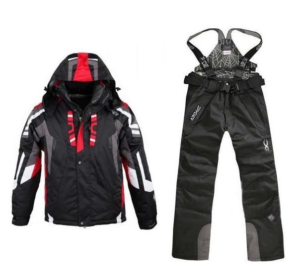 Traje de esquí de invierno de alta calidad Para los hombres Chaqueta de esquí Pantalones de snowboard impermeables Conjuntos de deporte al aire libre Traje de snowboard