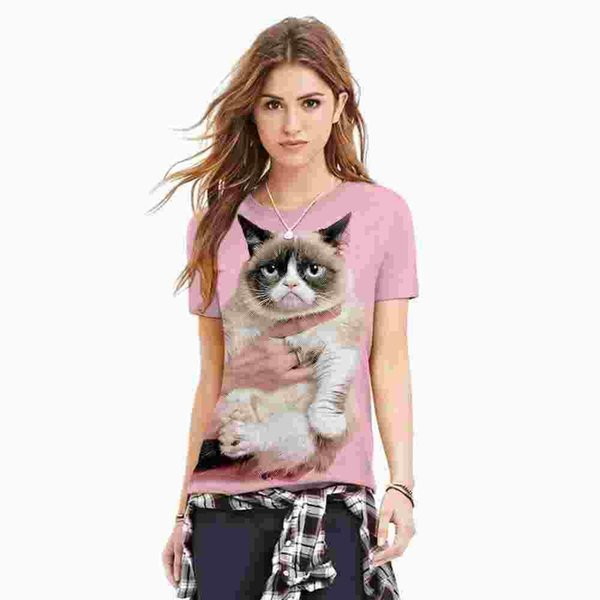 Cat 3D print pink kawaii T shirt plus size harajuku punk tees fashion couple clothes loose polyester fashion tee shirt femme