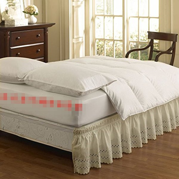 Polyester Cotton Beige White Embroidered No Bed Surface Elastic Band Bed Skirt Bedspread 37cm Height Bed Apron