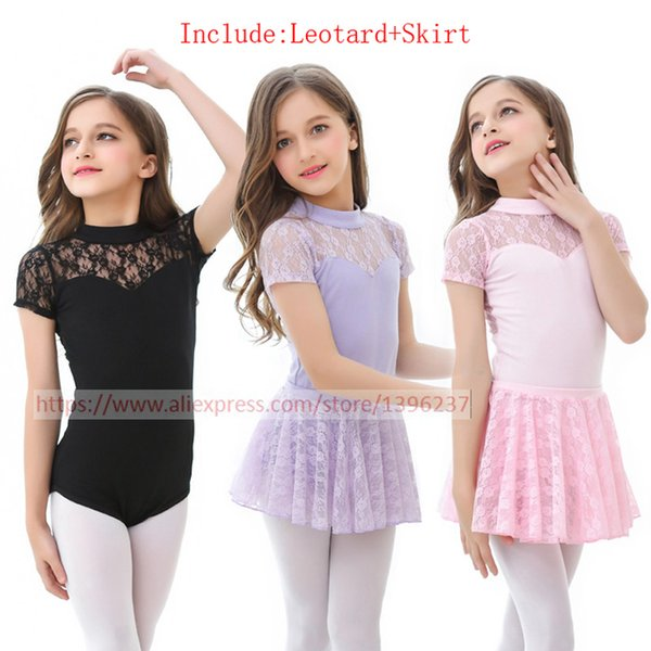 Ballet Tutu Dresses Girls New Arrival Sleeveless Lace Practice Dance Costume Leotard Skirt Children Black Ballet Dance Skirt