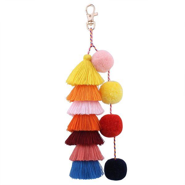 Múltiples capas de algodón borla llavero colorido Pom Pom llavero llaveros señoras bolso Charm accesorios joyería bohemia regalo