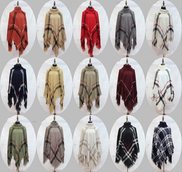 Plaid Poncho Women Tassel Blouse Knitted Coat Sweater Vintage Wraps Knit Scarves Tartan Winter Cape Grid Cardigan Cloak Shawl OOA2903